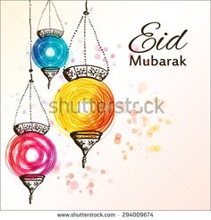 Eid Mubarak background. Eid Mubarak - traditional Muslim greeting. Festive hanging arabic lamps. Greeting card or invitation for Moslem Community events. Vector illustration.