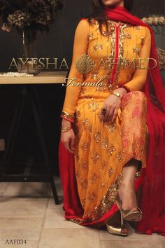 Ayesha ahmed saffron dress