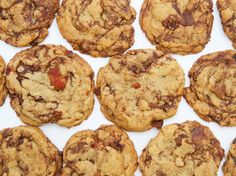 Bacon Chocolate Chip Cookies Recipe Afternoon Tea, Desserts with smoked bacon, all-purpose flour, baking soda, salt, unsalted butter, dark brown sugar, light brown sugar, white sugar, vanilla extract, eggs, egg yolks, chocolate chips, semi-sweet chocolate morsels