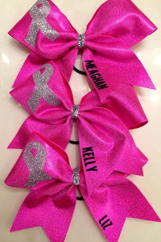Cheer Bow Breast Cancer Bow Quantity 1 by FullBidBows on Etsy, $13.00