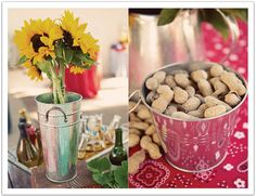 Peanuts and sunflowers.  Country Style BBQ Rehearsal Dinner ( boiled peanuts would be better)
