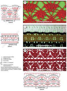 Схемы c обозначениями и фото, связанных крючком ажурных сквозных узоров. Страница 168.