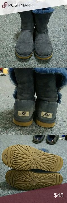 Used Navy Bailey Button Uggs Used but still a lot of life left. Repost because they run a little smaller than the classic short uggs and are a little tight on me. They do have quite a bit of water marks and could use a cleaning so the price reflects that. UGG Shoes Winter & Rain Boots