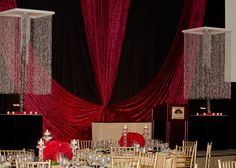 Deep Reds and dramatic curtains are an elegant decor choice for your next corporate gala! Corporate Event Design, Mandarin Oriental, Backdrops, Miami, Decorating Ideas, Wedding Ideas, Decorations, Curtains, Deep