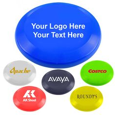 "10 Inch Promotional Logo Ultimate Flyers: Available Colors: Lime Green, Red, Royal Blue, White, Yellow, Eco Navy Blue. Product Size: 9-5/8"" dia x 1 1/4"" deep. Imprint Area: 6-1/4"" dia. Carton Weight: 28 lbs. Packaging: 100. Material: Polypropylene. Made In: USA. #customfrisbee #promotionalproduct #summerfuntoys"