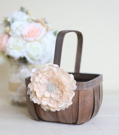 Rustic Flower Girl Basket Lace Rhinestones by Morgann Hill Designs  / http://www.deerpearlflowers.com/flower-girl-basket-ideas/
