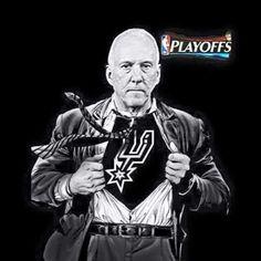 Spurs Coach Gregg Popovich. Playoffs-Go Spurs Go