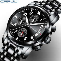 Cheap steel man, Buy Quality steel clock directly from China steel men watches Suppliers: CRRJU Sport Watch Men Quartz Military Casual Watches Men's Chronograph Wristwatch Army Waterproof Clock Men Full Steel Hour Relogio Casio Edifice, Top Luxury Brands, Amazing Watches, Beautiful Watches, Mens Sport Watches, Vintage Watches For Men, Seiko Watches, Analog Watches, Casual Watches