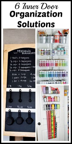 Great home organization storage ideas! Looking for more storage space? Try some of these clever inner door organization solutions! Home organizing ideas Small Space Storage, Small Space Organization, Household Organization, Vertical Storage, Kitchen Organization, Organization Station, Home Organisation, Storage Organization, Konmari