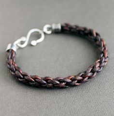 Mens Leather Bracelet Braided with Sterling by LynnToddDesigns, $62.00