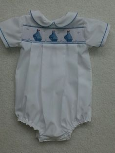 Boy baby sailboat bubble similar to Prince George.   Smocking plate is modified 'Regatta' by Ellen McCarn.