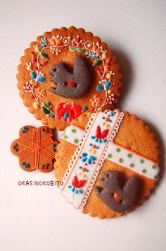 embroidered design squirrel cookies