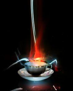 very hot tea