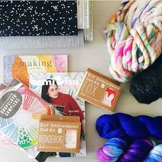 All the pretty things @jpknitandstitch ~ our wanderlust yarn in the top right corner. I think I'll take one of everything