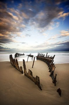 Remaining hull of the SS Dicky - Dicky Beach, Queensland, Australia