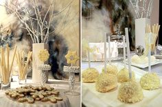 winter setting and cake pops