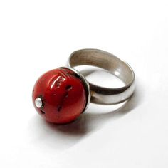 Remembrance - silver ring with coral