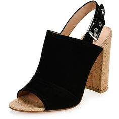Gianvito Rossi Suede Peep-Toe Slingback Sandal ($695) ❤ liked on Polyvore featuring shoes, sandals, black, suede sandals, high heel sandals, black peep toe sandals, black block heel sandals and black sandals