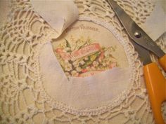 how to add an image to the center of a vintage doily