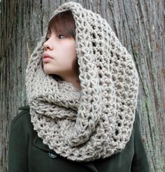 The Favorite Cowl neck hood scarf wool brown natural