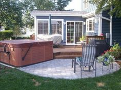 Sunroom with Deck and Hot Tub by Chicago Suburb Sunroom Builder Archadeck of Chicagoland Cool Deck, Diy Deck, Deck Patio, Deck Design, House Design, Hot Tub Deck, Deck Builders, Outdoor Furniture Sets, Outdoor Decor
