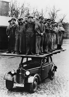 c.1937: Demonstrating the strength of the DKW car chassis