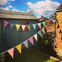 Colourful bright outside wedding bunting