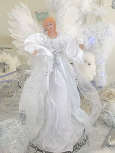16  Shabby Christmas White Sparkle Angel Tree /Table Topper Chic Decoration