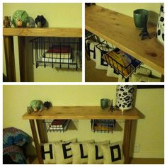 my DIY furniture project - entry table with hanging wire baskets