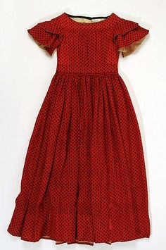 Rich Red Girl's Silk and Wool Dress, circa 1842   #Victorian #1840s #shortsleeves