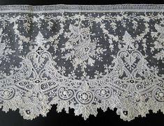 Maria Niforos - Fine Antique Lace, Linens & Textiles : Antique Lace # LA-298 Superb 19th C. Brussels Point De Gaze Lace Flounce