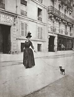 Woman with dog Paris.Ca.1890  Photographer unknown