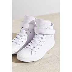 Converse Chuck Taylor All-Star Brea Sneaker ($75) ❤ liked on Polyvore featuring shoes, sneakers, white, high top trainers, white hi top sneakers, white shoes, high top sneakers and white high tops