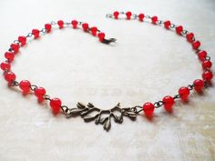 Mistletoe necklace with red carnelian pearls, vintage and nature inspired Christmas jewelry, Selma Dreams seasonal jewellery gifts by SelmaDreams on Etsy