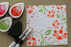Kaleidacolor Tomato Vine » fresh & fun  Coloring embossed cs with inks.  The finished card is a great example of using multiple inks on white cs to achieve a stunning look.