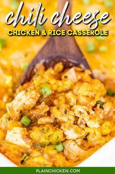 Chili Cheese Chicken & Rice Casserole - Plain Chicken Easy Mexican Casserole, Chicken Rice Casserole, Ravioli Casserole, Green Bean Casserole, Cheesy Chicken, Mexican Chicken, Chicken Chili, How To Cook Chicken, Hotdish Recipes