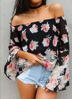 Cheap off shoulder womens blouses, Buy Quality chiffon blouse directly from China blusa boho Suppliers: Cold Shoulder Tops Chiffon Blouse Off Shoulder Women Blouses 2017 Chemise Femme Kimono Body Floral Print Vintage Blusas Boho New Look Con Short, Summer Outfits, Cute Outfits, Floral Outfits, Fashion Outfits, Womens Fashion, 50 Fashion, Ladies Fashion, Trendy Fashion