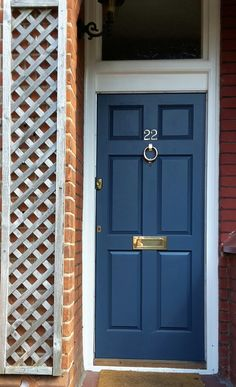 Farrow and ball stiffkey blue painted front door