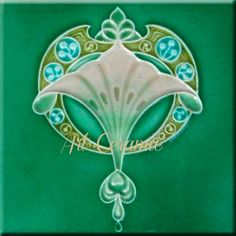 Art Nouveau Reproduction Decorative Ceramic Tile 6 X 6 inches #00245
