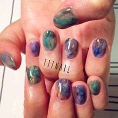 ◽️▫️\⚪️◻️△▽⚪️◁✨ #nail#art#nailart#ネイル#ネイルアート#大理石ネイル#aurora#Amethyst#emerald#Treasure#cool#nuance#ennui#ショートネイル#nailsalon#ネイルサロン#表参道#大理石111#nuance111#ennui111