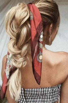 big pulled braids + bandana ponytail   long blonde balayage hair ideas