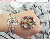 CHRISTMAS SALE Peace Rose Slave Bracelet Ring. White Rose Flower and Colorful Flower Peace Sign. Sterling Silver Chain. Beaded. Sized