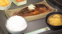 Simmered fish with rice, soup, and tamagoyaki!  Wizard Barristers, Episode 2