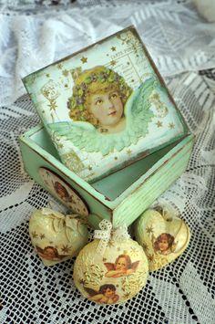Christmas Decoupage, Decoupage Box, Christmas Gift Box, Decorative Boxes, Decorative Storage Boxes