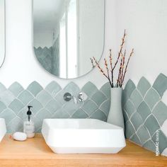 We have a total crush for this bathroom designed by cecilehumbert_designdinterieur. in colour 1004 and we couldn't be prouder.Find this and many more tile shapes and colours in our ZELLIGE collection – link in bio. Modern White Bathroom, Bathroom Colors, Aqua Bathroom, Bathroom Scales, Wall And Floor Tiles, Wall Tiles, Moroccan Tiles, Bathroom Interior Design, Terrazzo