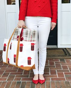 """I wanted to take today's """"On My Radar"""" post to wish you and your family a wonderful holiday weekend. I'm going to be taking a few days off from posting to spend time with my family but will probably still post every now and then on Instagram and Snapchat! Pom Pom Sweater // White Jeans // Red Flats (c/o) // Tote (c/o)"""