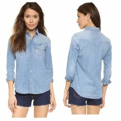 MOTHER Denim All My Exes Button Down Shirt w/Paint BNWOT, A slouchy MOTHER button-down shirt with a faded yoke and colorful paint splatters. Patch breast pockets. Fold-over collar. Imitation-pearl snaps fasten the front. Snap cuffs with raw edges and long sleeves. Fabric: Denim. 100% cotton. Wash cold. Purchased at MOTHER's warehouse sale, brand new, never worn, too small for me. Label is cut so it can't be returned to a department store. SOLD OUT Mother Tops Button Down Shirts