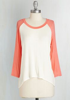 All Night Blogathon Top in Coral. The key to focusing for a 24-hour writing marathon is comfort, hence why youre outfitted in this casual tee. #white #modcloth