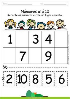 Afbeeldingsresultaat voor Atividades com numeros Preschool Writing, Numbers Preschool, Preschool Learning Activities, Teaching Kids, Kids Learning, Kindergarten Math Worksheets, Preschool Kindergarten, Math For Kids, Kids Education
