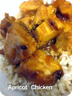 Slow Cooker Apricot Chicken Recipe, with russian dressing, dry onion soup mix, apricot preserves